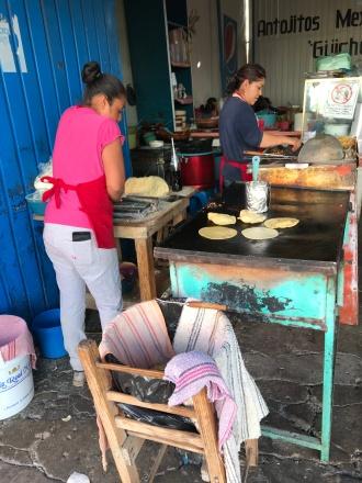 Corn tortillas in the making